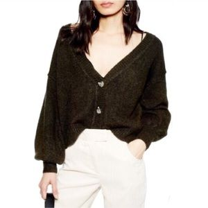 TOPSHOP Horn Button Crop Cardigan